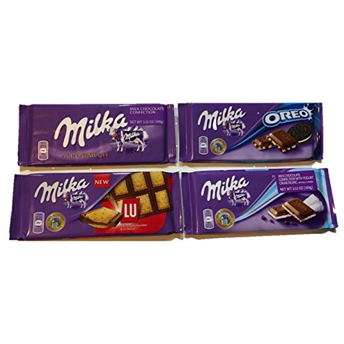 Milka , (Milk Chocolate) Top Selling Variety 4 Pack (4x 100g each)