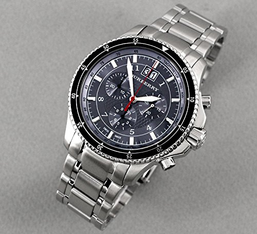 Amazon.com: Burberry Men Unisex Women Watch Endurance SWISS LUXURY Round Stainless Steel Chronograph Black Date Dial 42mm BU7602: Watches