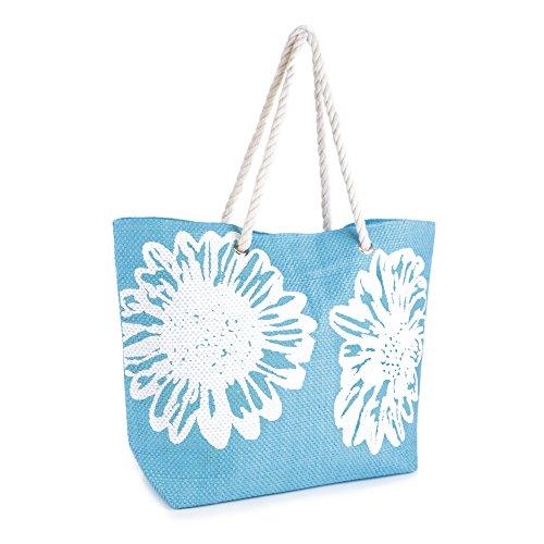 Fleur femme Impression toile Bleu Sacs Sac Poignée à d'été bandoulière sur Summer Bags pour Corde XFfCwqxxB