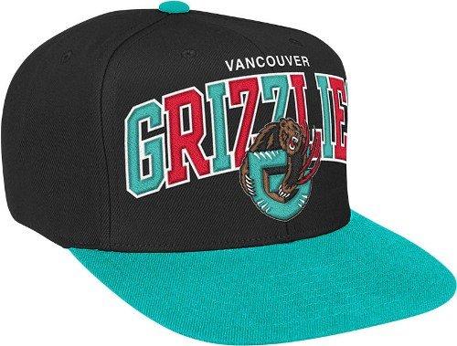 (Vancouver Grizzlies Black/Teal Two Tone Arch Snapback Adjustable Plastic Hat / Cap)