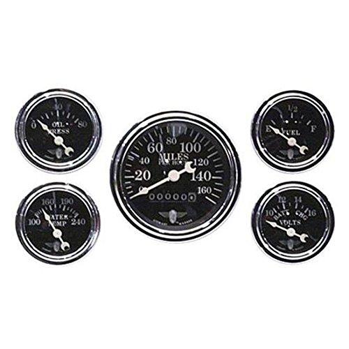 (Stewart Warner 82227 Five Gauge Set, Electric/Mechanical, Black)