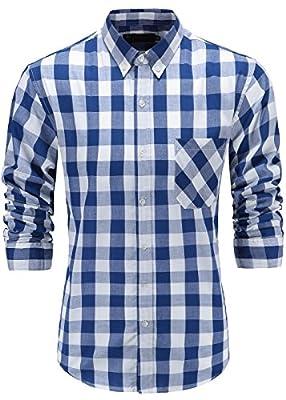 KateSui Mens Regular Fit Long Sleeve Button-Down Plaid Dress Shirt