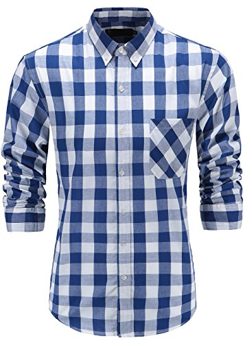 KateSui Mens Slim Fit Long Sleeve Button-Down Plaid Dress Shirt XL Blue White