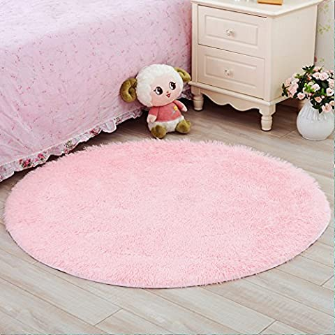 YJ.GWL Ultra Soft Round Rugs for Bedroom Anti-slip Shaggy Kids Room Carpets Children Play Tent Mat Home Décor Rugs 4 (Gray And Pink Round Rug)