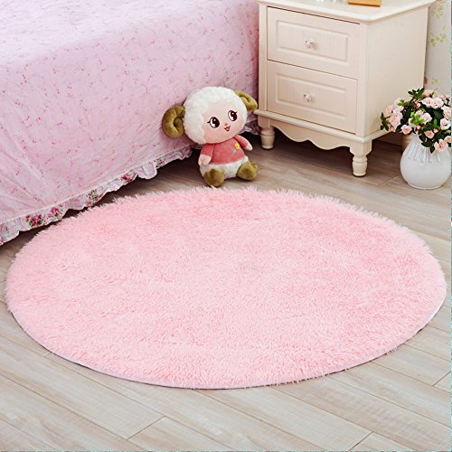 YJ.GWL Ultra Soft Round Rugs for Bedroom Anti-slip Shaggy Kids Room Carpets Children Play Tent Mat Home Décor Rugs 4 Feet(Pink)