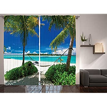 amazoncom ocean curtains 2 panel set by ambesonne palms
