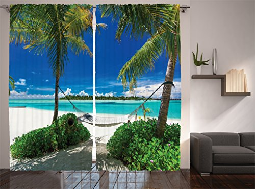 Ambesonne Beach Hammock Decor Collection, Hammock Palm Trees Tropical Beach Scenic Coastline Picture Print, Window Treatments, Living Room Bedroom Curtain 2 Panels Set, 108 X 84 Inches, Ecru Aqua Blue (Tropical Print Curtains)