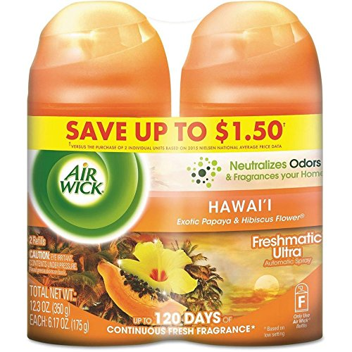 Air Wick Freshmatic 2 Refills Automatic Spray, Hawaii, (2X6.17oz), Air Freshener