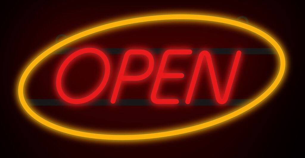 ComeAlong Industries Red and Yellow Heavy Duty LED ''OPEN'' Sign, 27-Inch Wide x 15-Inch High