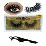 3D Mink Lashes Hand-made Dramatic Makeup Strip Lashes 100% Fur Fake Eyelashes Thick Crisscross Deluxe False Lashes Black Nature Fluffy Long Soft 1 Pair Package (3D-65)