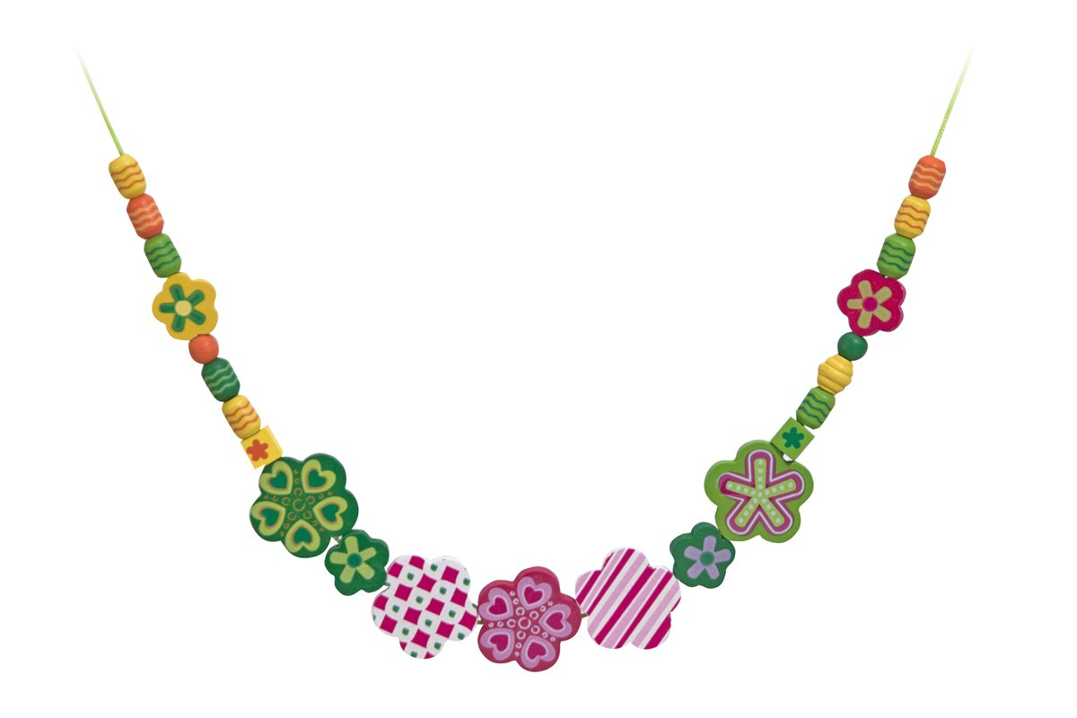 Beads and 5 Cords for Jewelry-Making Melissa /& Doug Flower Power Wooden Bead Set With 150