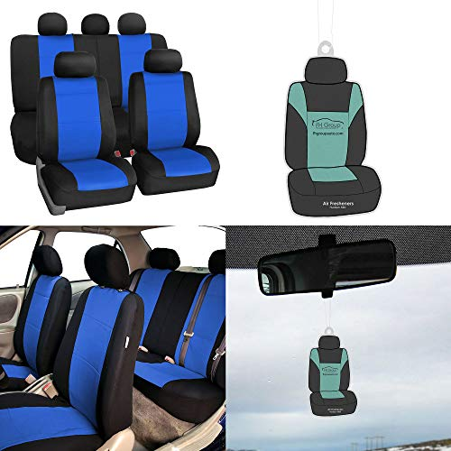 FH Group FB083115 Premium Neoprene Seat Covers, Airbag & Split Compatible w. Free Air Freshener, Blue/Black Color - Fit Most Car, Truck, SUV, or Van ()
