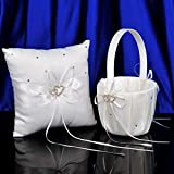AWEI Flower Girl Basket and Ring Bearer Pillow with 2 Heart Rhinestones, Ivory Wedding Ceremony for Wedding Supplies Gift