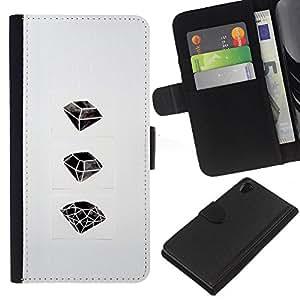 EJOY---La carpeta del tirón la caja de cuero de alta calidad de la PU Caso protector / Sony Xperia Z2 D6502 / --Rubí Esmeralda Arte Dibujo