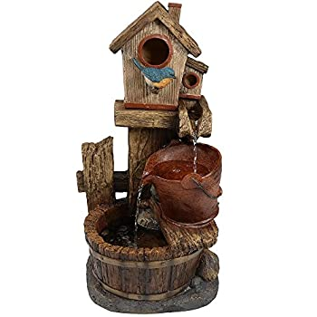 Sunnydaze Bluebird House and Buckets Outdoor Garden Water Fountain, 26 Inch Tall