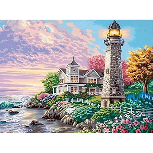 5D Diamond Painting Kits for Adults Lighthouse feilin Full Drill, DIY Cross Stitch Crystal Mosaic Picture Artwork for Home Wall Decor Gift 40x30cm