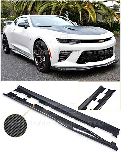 - Replacement For 2016-2018 Chevrolet Camaro SS & RS | ZL1 Style Side Skirts Rocker Panel Extension Pair (Carbon Fiber)