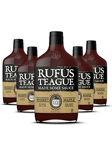 Rufus Teague WHISKEY MAPLE BBQ SAUCE - (6 Pack) 16oz Bottles - World Famous Kansas City BBQ - Thick & Rich made with Real Bourbon & Premium Ingredients - Certified Gluten-Free, Kosher ()