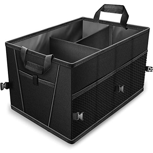 (Trunk Organizer for Car SUV Truck Van Storage Organizers Best for Auto Accessories in Bed Interior, Collapsible Vehicle Caddy Large Box Tote Compartment Heavy Duty for Grocery, Tools or Boots )