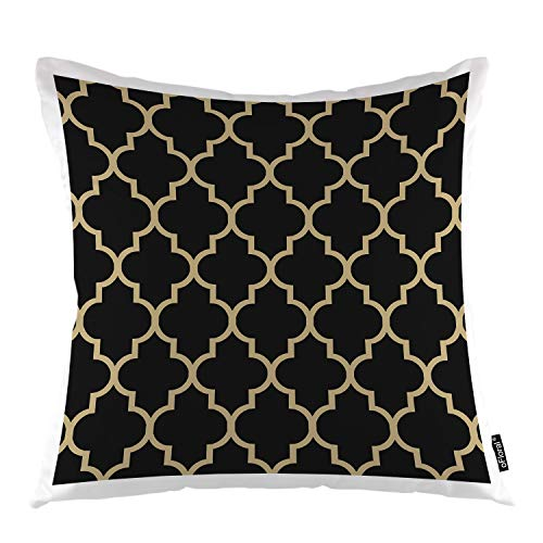 "oFloral Geometric Throw Pillow Covers Maroccan Mosaic Tiles Ethnic Ancient Gold Trellis Decorative Square Pillow Case 18""X18"" Pillowcase Home Decor for Sofa Bedroom Livingroom"