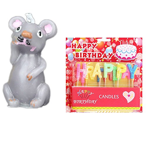 Creative and Lovely Chinese Zodiac Birthday Candles Smokeless Candles include HAPPY BIRTHDAY Letter Candles and 1Pcs Of Zodiac Candles-Mouse