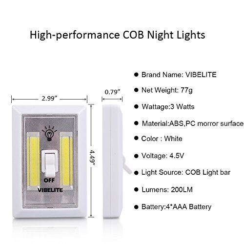 VIBELITE Closet Light, Battery Operated, Tap Light, Touch, Night, Utility, Wall Wireless Mount Under Cabinet, Shelf, Shed, Kitchen, Garage, Attic, RV, DIY(4-pack) by VIBELITE (Image #6)