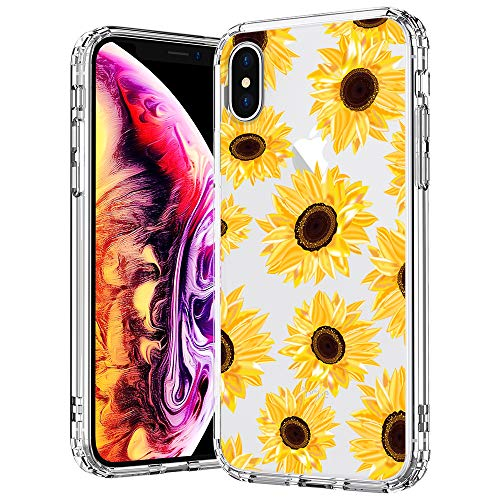 MOSNOVO Case for iPhone Xs/iPhone X, Floral Flower Sunflower Pattern Clear Design Transparent Plastic Hard Back Case with TPU Bumper Protective Case Cover for iPhone X/iPhone Xs