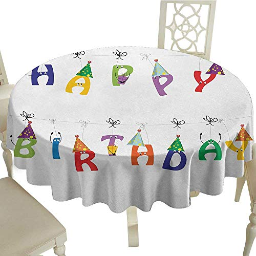 Birthday Easy Care Leakproof and Durable Tablecloth Celebration Cute Colorful Letters on Ropes Funny Faces Pointy Party Hats for Kids Outdoor Picnic D59.05 Inch Multicolor