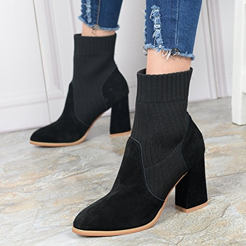 KHSKX-Winter Boots Female High-Heeled Boots With Coarse Martin Boots Fashion Short Tube Shoes Matte Leather Shoes Wool Black SZqskR