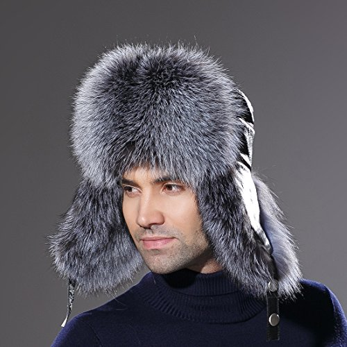 7f2767fdc4fc95 URSFUR Winter Russian Fur Hat Mens Real Silver Fox Fur Ushanka Trapper Cap  by URSFUR (