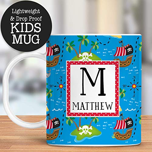 Kids Personalized Pirate Ship Mug Customize with Name and Initial ()