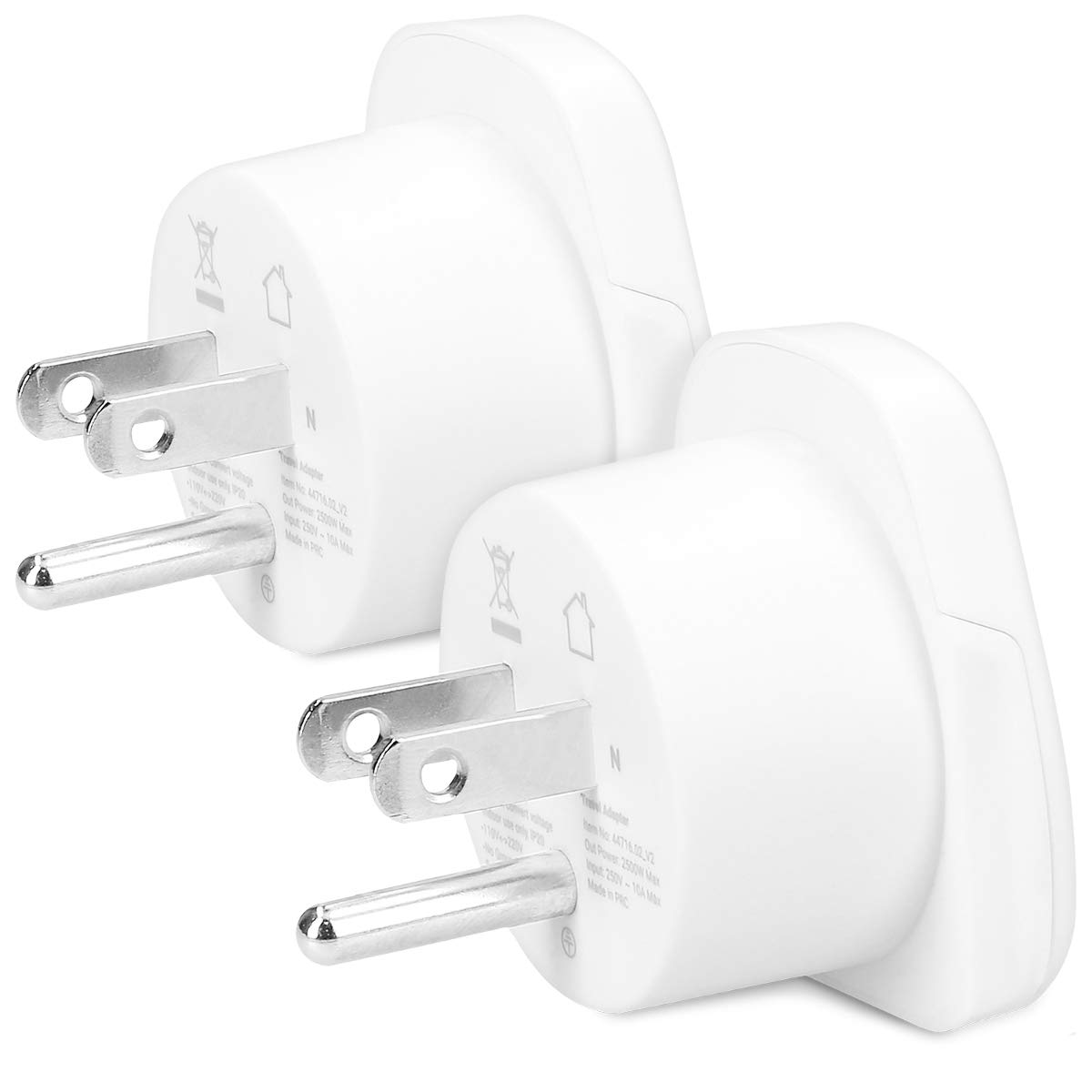 Conector Suiza Conectores de enchufes Color Blanco kwmobile 2 Adaptadores de Viaje Tipo J 2X Adaptador de Enchufe