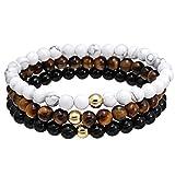 Joan Nunu 3PCS Men Women 8MM Bead Bracelet Braided Woven Rope Natural Stone Stack Bangle Bracelet Set