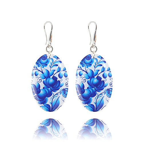 White Earrings with Steel Blue Flower Design for Beloved in a Gift Bag for Everyday by Dragon ()