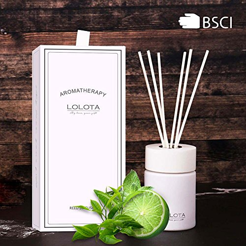 LALATA Reed Diffuser Essential Oil Lemon White Tea Musk Scent in Gift Box,Natural Scented Long Lasting Fragrance Oil for Aromatherapy and Air Freshener (Tea Home Fragrance Oil)