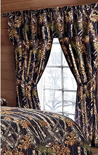 """The Woods"" Camo Curtain & Valance 5 Piece Drape Set Black from RegalComfort"