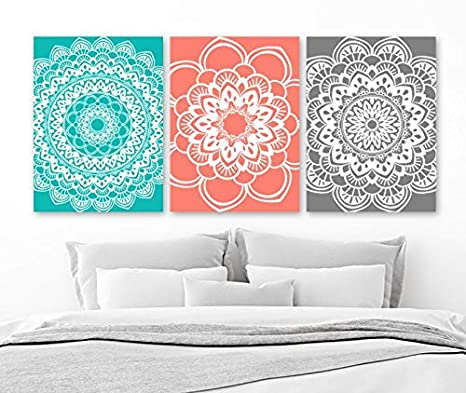 amazon com mandala wall art coral gray bathroom decor canvas or rh amazon com Bathroom Gray Accents Gray and Coral Bathroom Towels