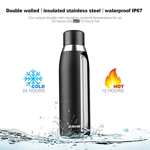 Reusable Smart Water Bottle Rechargeable - DAWAY G3 Stainless Steel Vacuum Insulated Water Bottle, Leak Proof, Double Wall, Keep Drink Hot & Cold, Temperature Display, Alarm Reminder, with Holder Bag by DAWAY (Image #1)