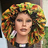 African Kente Bonnet, Unisex Satin Bonnet for Sleeping, Double Layer, Super Smooth Interior, for Natural Hair