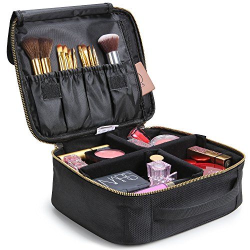 Lifewit Makeup Bag Case with Adjustable Dividers Travel Cosmetic Bag Organize Case with Brush Holders Black