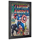 "Crystal Art Licensed Marvel Vintage Captain America Premiere Issue Comic Book Cover Framed Wall Art, 19"" H x 13"" L, Multicolored"