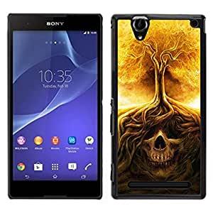 // PHONE CASE GIFT // Duro Estuche protector PC Cáscara Plástico Carcasa Funda Hard Protective Case for Sony Xperia T2 Ultra / Fire Tree Skull Meaning Death Metal /