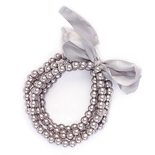 Riah Fashion Women's Faux Pearl Layered Stretch Bracelet Set (Grey)
