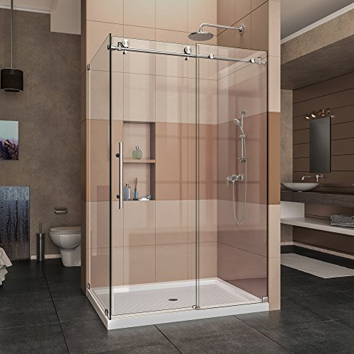 (DreamLine Enigma-X 34 1/2 in. D x 48 3/8 in. W x 76 in. H Fully Frameless Sliding Shower Enclosure in Brushed Stainless Steel, SHEN-6134480-07)