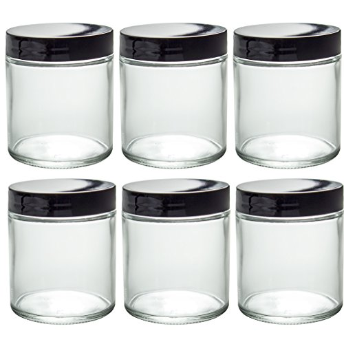 Clear Thick Glass Straight Sided Jar - 4 oz / 120 ml (6 pack) + Spatulas and Labels