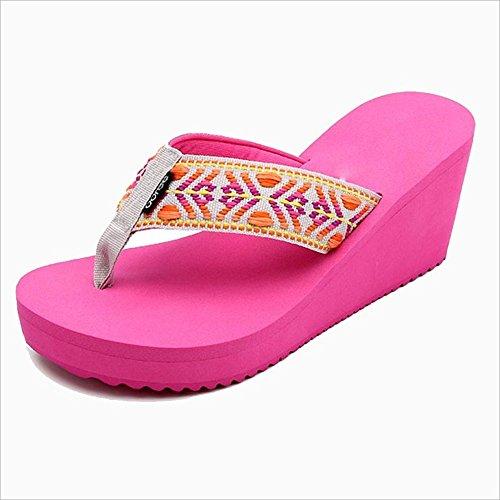 Sandalias A UK4 Sandalias plataforma cuña PENGJUN zapatillas EU37 mujer tacón verano moda CN37 5 Color A de 8cm Tamaño 5 5q7dZ