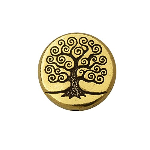 TierraCast Bead, Puffed Coin with Tree of Life Design 4x13.5mm, 2 Pieces, Antiqued Gold Plated (Puffed Coin Beads)