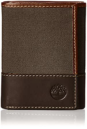 Timberland mens D28221 Canvas & Leather Trifold Wallet Wallet - gray - One Size