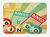 Ambesonne Vintage Bath Mat, Bingo Game with Ball and Cards Pop Art Stylized Lottery Hobby Celebration Theme, Plush Bathroom Decor Mat with Non Slip Backing, 29.5 W X 17.5 W Inches, Multicolor