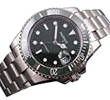 Mixed Olives Dial SEA Style Automatic Mens Womens Silver Stainless Steel Watch Rotatable Ceramic Bezel